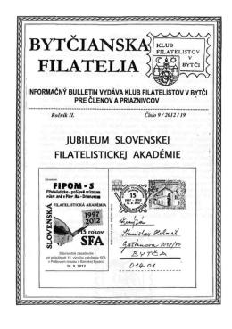 Číslo 9/2012 - Klub filatelistov Bytča KF 53-38