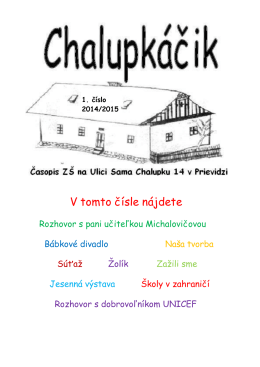 1. číslo Chalupkáčika r. 2014/2015