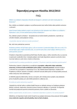 Štipendijný program Hlavička 2012/2013 FAQ: