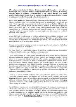EPIGENETIKA PRINAŠA PREKVAPUJÚCE POZNATKY - 1