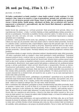 Kázeň 21.10.2012 - 20. ned. po Troj., 2Tim 3, 13 – 17
