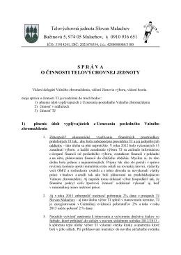Telovýchovná jednota Slovan Malachov Bučinová 5, 974 05