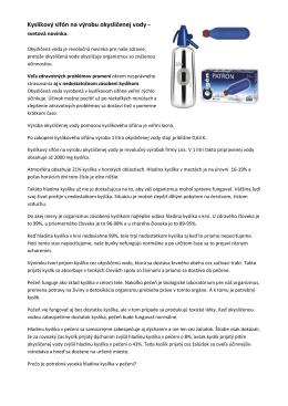 Kyslíkový sifón na výrobu okysličenej vody –
