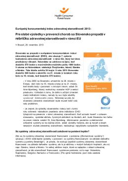 Pre slabé výsledky v prevencii chorob sa Slovensko prepadá v