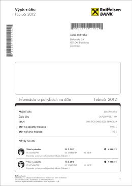 Informácia o pohyboch na účte Február 2012