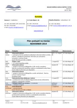 Plán podujatí na mesiac NOVEMBER 2014