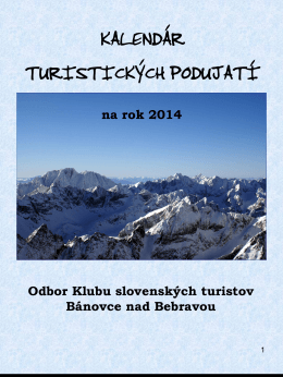 Kalendár akcií - Klub slovenských turistov Bánovce nad Bebravou