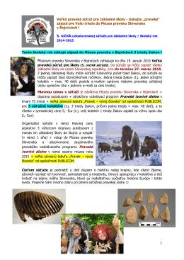 Veľká praveká súťaž - Múzeum praveku Slovenska