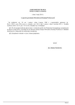 ZARZĄDZENIE NR 462/2014 BURMISTRZA MIASTA I GMINY