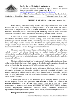 19. Október 2014 - Farnosť sv. košických mučeníkov