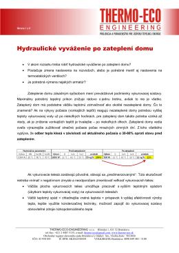 Hydraulické vyváženie ÚK po zateplení domu