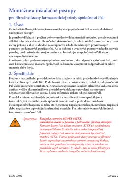 Montážne a inštalačné postupy for Filtračné