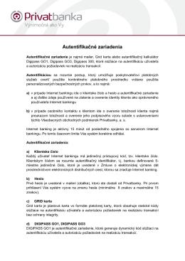 Dokument týkajúci sa autentizačných zariadení