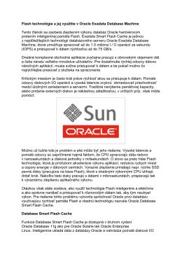 Flash technológia a jej využitie v Oracle Exadata Database