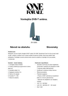 Vonkajšia DVB-T anténa. Návod na obsluhu - SOLIGHT E-shop