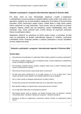 Dotazník o participácii v programe Internationalen