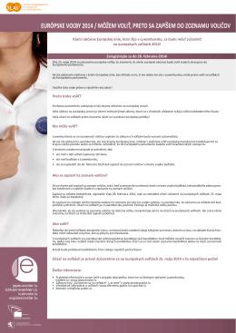 európske voľby 2014 / môžem voliť, preto sa zapíšem
