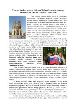 Výmenný študijný pobyt na Université Reims Champagne