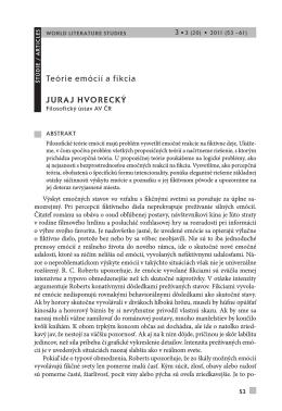 teórie emócií a fikcia JuraJ Hvorecký