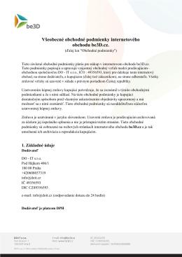 Všeobecné obchodné podmienky internetového obchodu be3D.cz.