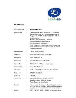 propozície Rusovského behu 2014