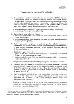 Výzva PRO LIBRIS 2015 - Stredoeurópska nadácia