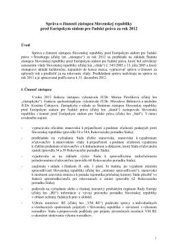 Správa o činnosti zástupcu Slovenskej republiky pred Európskym
