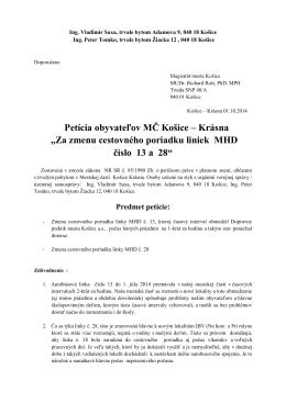 Za zmenu cestovného poriadku liniek MHD číslo 13 a 28