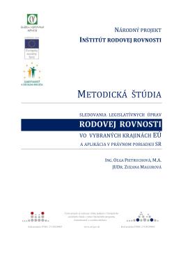 METODICKÁ ŠTÚDIA - Inštitút rodovej rovnosti