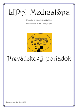 Prevádzkový poriadok LIPA MedicalSpa