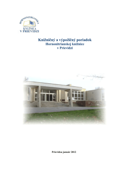 Knižničný a výpožičný poriadok - Hornonitrianska knižnica v Prievidzi