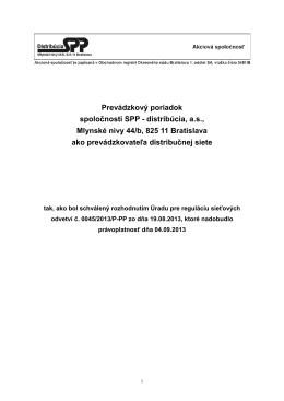 Prevádzkový poriadok spoločnosti SPP