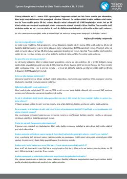 Úprava fungovania volaní na čísla Tesco mobile k 31. 3. 2015