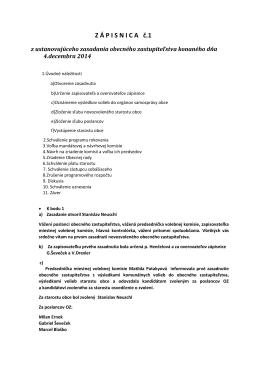Zápisnica z rokovania OZ 4.12.2014