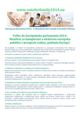 Voľby do Európskeho parlamentu 2014: Manifest za komplexnú a