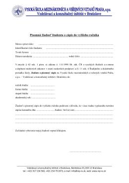žiadosť o zápis do vyššieho ročníka