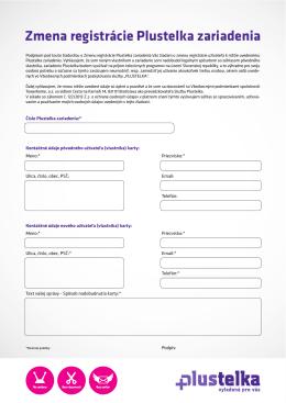 Zmena registrácie Plustelka zariadenia