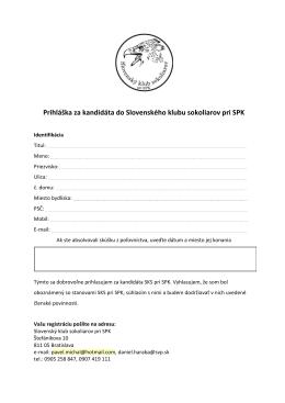 Prihláška za kandidáta do Slovenského klubu