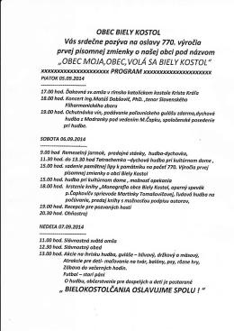 Program osláv - Biely Kostol