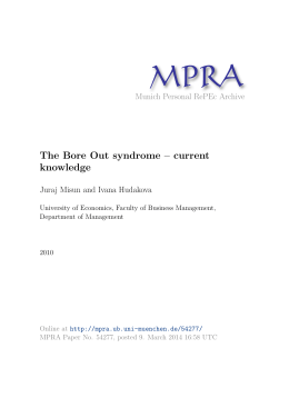 The Bore Out syndrome – current knowledge