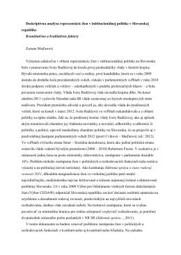 Deskriptívna analýza žien v politike na Slovensku