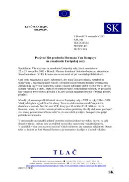 Pozývací list predsedu Hermana Van Rompuya na zasadnutie