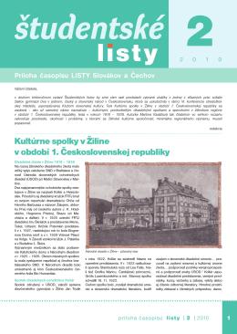 Študentské listy - Listy Slovákov a Čechov