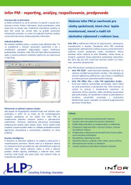 Infor PM - reporting, analýzy, rozpočtovanie, predpovede