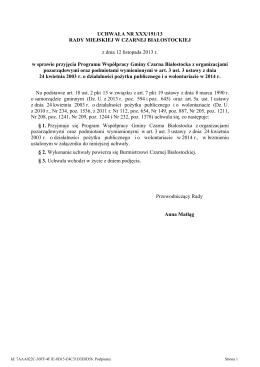 Projekt Uchwały - Urząd Gminy Wólka