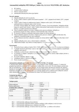 DN11 Automatická nabíjačka MW 8168 pre 2 - SOLIGHT E-shop
