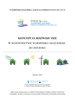 """""""Plan rozwoju mikroinstalacji odnawialnych źródeł energii do 2020"""