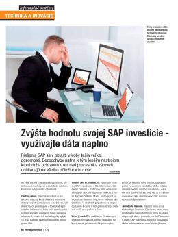 Zvýšte hodnotu svojej SAP investície - využívajte dáta naplno