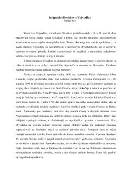 Imigrácia Slovákov z Vojvodiny