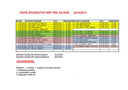 2014/2015 ZÁPIS ŠTUDENTOV NHF PRE AK.ROK